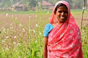 Kajol Das in her garden near Gayadham. Photo courtesy of Rucha Chitnis.